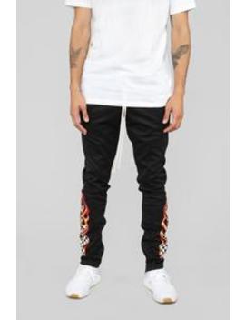 Retro Flame Track Pants   Black by Fashion Nova