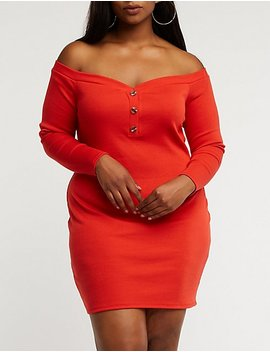 Plus Size Off The Shoulder Button Up Dress by Charlotte Russe