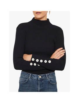 Mint Velvet Fine Ribbed Buttoned Sleeve Knit, Navy by Mint Velvet