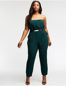 Plus Size Strapless Belted Jumpsuit by Charlotte Russe