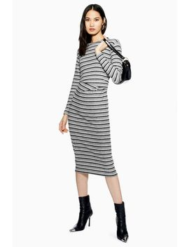 Stripe Ruched Midi Dress by Topshop