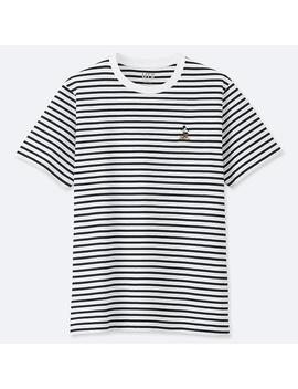 Men Mickey Stands Striped T Shirt by Uniqlo