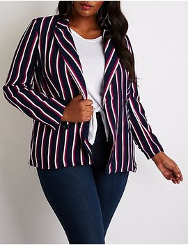 Plus Size Striped Double Breasted Blazer by Charlotte Russe