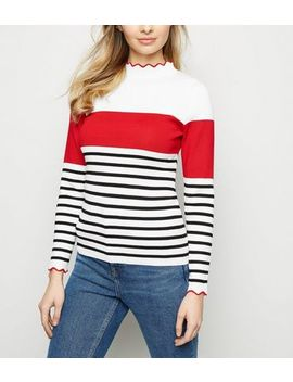 White Stripe Colour Block Frill Neck Jumper by New Look