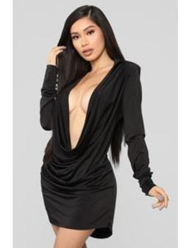 Slay The Night Cowl Neck Dress   Black by Fashion Nova