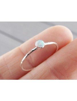 Textured Opal Stacking Ring, Slim Ring, Stacking Gemstone Ring, Opal Rings, Textured Rings, Wisper Gemstone Rings, Gift, White Opal, Gift by Etsy
