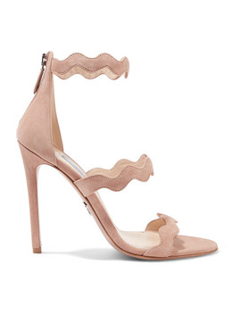 115 Scalloped Suede Sandals by Prada