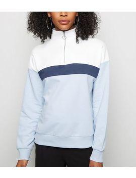 Blue Colour Block Half Zip Sweatshirt by New Look