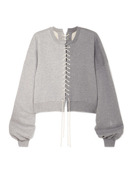 Lace Up Cotton Jersey Sweatshirt by Unravel Project