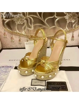 Women's Brand High Heel Shoes Pearl Heel Leather Shoes by I Offer