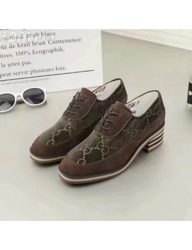 Women Brown Suede Canvas Mid Heel Shoes Lace Up Loafers by I Offer