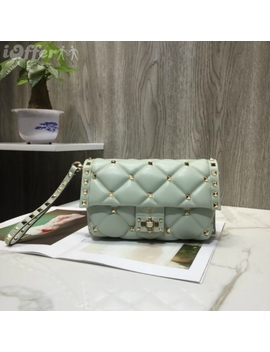 New Lady Sheepskin Rivet Bag V0080 Light Green Handbag by I Offer