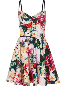 Pleated Floral Print Cotton Blend Mini Dress by Dolce & Gabbana