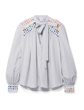 Embellished Striped Cotton Poplin Blouse by Rosie Assoulin