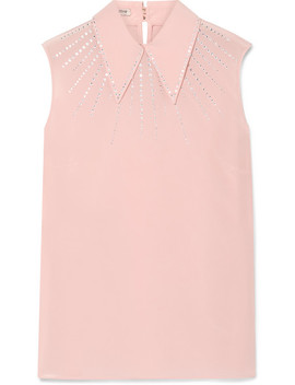 Crystal Embellished Silk Crepe De Chine Top by Miu Miu