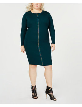 Trendy Plus Size Zipper Front Dress by Say What?