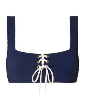 Carlisle Bay Laced Up Ribbed Underwired Bikini Top by Heidi Klein