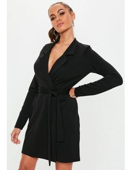 Black Long Sleeve Belted Blazer Dress by Missguided