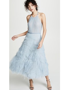 Textured Tulle Tea Length Gown by Marchesa Notte