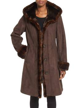 Hooded Faux Shearling Long A Line Coat by Gallery