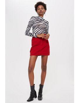 Petite Red Corduroy Denim Skirt by Topshop