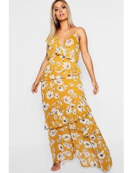 Plus Kate Floral Ruffle Detail Maxi Dress by Boohoo