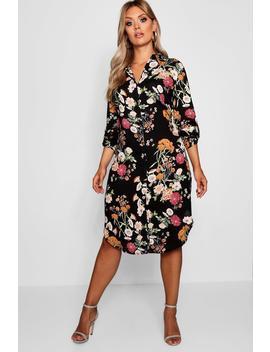 Plus Floral Printed Shirt Dress by Boohoo
