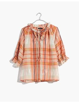 Plaid Tie Neck Ruffle Sleeve Top by Madewell