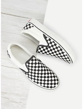 Gingham Canvas Slip On Sneakers by Romwe