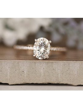 Moissanite Engagement Ring, Forever Classic Oval 8x6mm Moissanite Rose Gold Ring, Charles & Colvard Moissanite And Diamond Solitaire Ring by Etsy