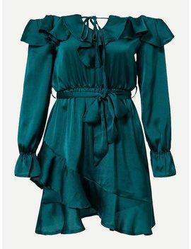 Bardot Ruffle Trim Overlap Hem Dress by Shein