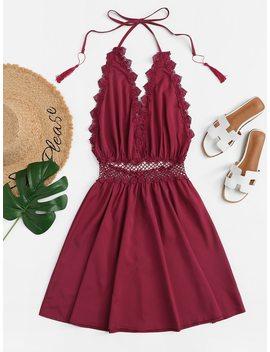 Lace Trim Fringe Halter Dress by Shein