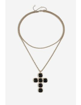 **Gem Cross Multirow Necklace by Topshop