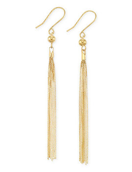 Tassel Drop Earrings In 14k Gold by Italian Gold