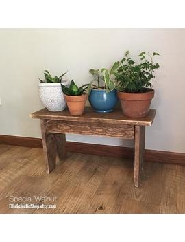 Rustic Plant Stand Wood Bench | Farmhouse Entryway Bench | Primitive Farmhouse Front Porch Plant Stand Bench | Coffee Side Table by Etsy