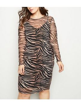 Curves Black Tiger Print Mesh Midi Dress by New Look