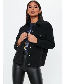 Black Oversized Teddy Faux Fur Denim Jacket by Missguided