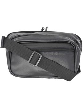 Garrison Grip Concealed Carry 3 Compartment Durable Black Leather Waist Fanny Pack With Locking Gun Compartment For Large Guns by Garrison Grip