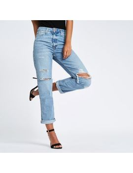 Middenbaluwe Ripped Mom Jeans Met Hoge Taille by River Island