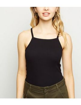 Black Ribbed High Neck Cami by New Look