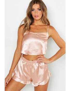 Satin Frill Hem Cami And Short Set by Boohoo