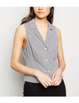 Black Gingham Sleeveless Shirt by New Look