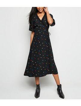 Black Spot Print Frill Wrap Midi Dress by New Look