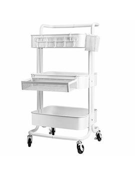 Kedsum 3 Tier Metal Rolling Utility Cart With 3 Piece Accessory Pack   Hooks, Shelf Extension, Pens Holder, Heavy Duty Mobile Storage Organizer With Utility Handle   White by Kedsum