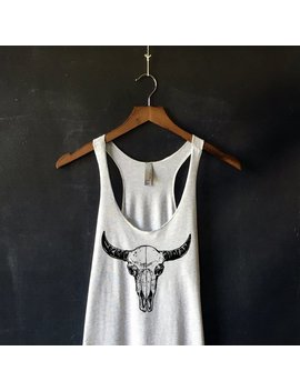 Bison Skull Tank Top For Women In Heather White   Bison Cow Skull Shirts   Bull Horn Shirts   Cow Shirts   Desert Vibes Tank Top by Etsy