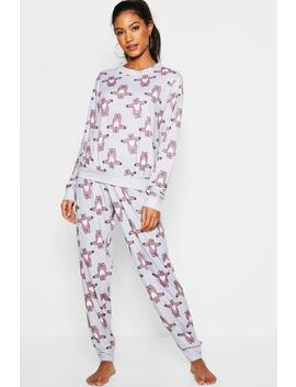Hugging Bear Lounge Pj Set by Boohoo