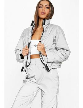 Fanny Lyckman X Missguided Grey Reflective Piped Puffer Jacket by Missguided
