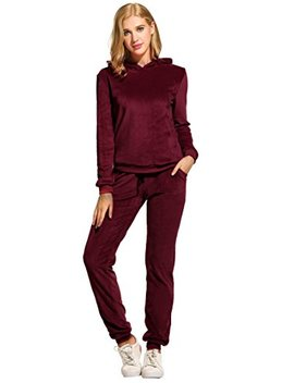 Hotouch Women's Solid Velour Sweatsuit Set Hoodie And Pants Sport Suits Tracksuits by Hotouch