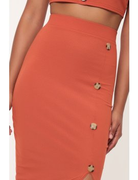 Rust Button Detail Ribbed Midi Skirt by I Saw It First