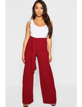 Petite Wide Leg Tie Belt Trouser by Boohoo